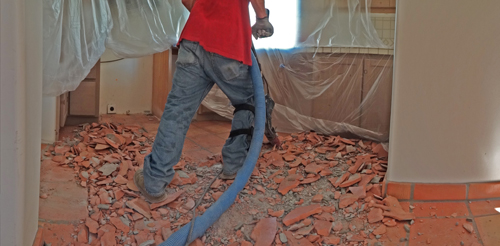 Saltillo Floor Tile Removal Scottsdale AZ Clean Tile Removal - Cleaning dust after tile removal
